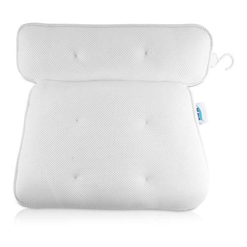 HOME SPA Badewannenkissen mit extra starken Saugnäpfen - weiche & rutschfeste Badewannen Komfort-Nackenstütze - ergonomische Kopf-Stütze inkl. Haken zum Trocknen + gratis Massage-Schwamm
