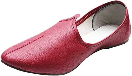Port Men's Exclusive Maroon Leather Punjabi ...