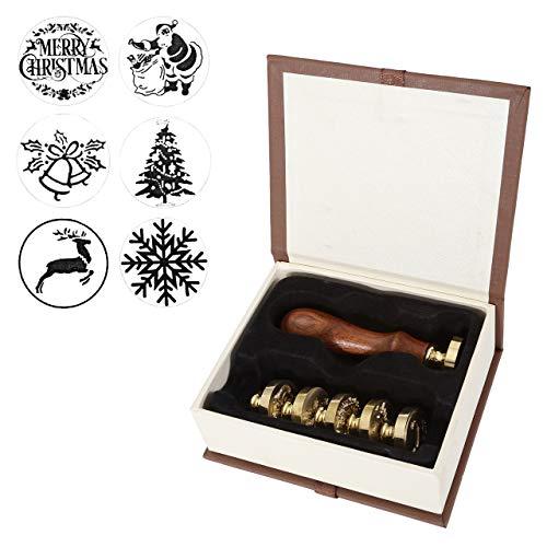 Mogokoyo 6 pcs Set Natale Sigilli Kit per Lettera Personalizzata Vintage Timbri Personali NATALE REGALO SET (6 Motivi:albero di Natale,babbo natale,fiocco di neve,pupazzo di neve,cervo) (Set B)