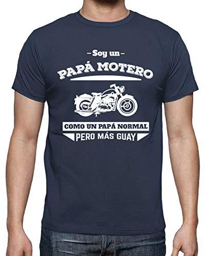 latostadora Camiseta Papá Motero, como Un Papá Normal, Pero Más Guay (Fondo Oscuro) - Camiseta Hombre clásica, Denim Talla XL