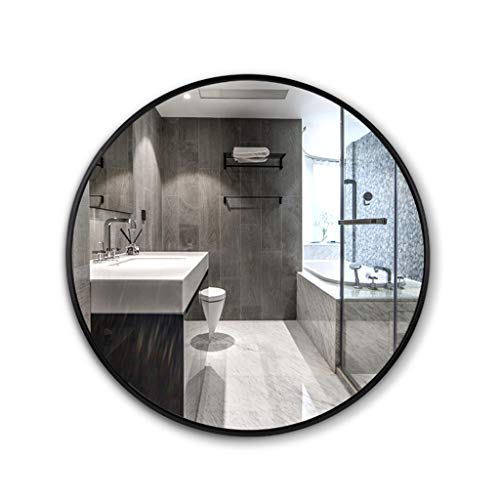 Badezimmer-Spiegel Wandbehang Spiegel Runde Aluminium Rahmen HD Explosionsgeschützte Concise Moderne mit hängenden Befestigung Durchmesser 30cm / 11.8Inch-80cm / 31.4Inch, Schwarz -