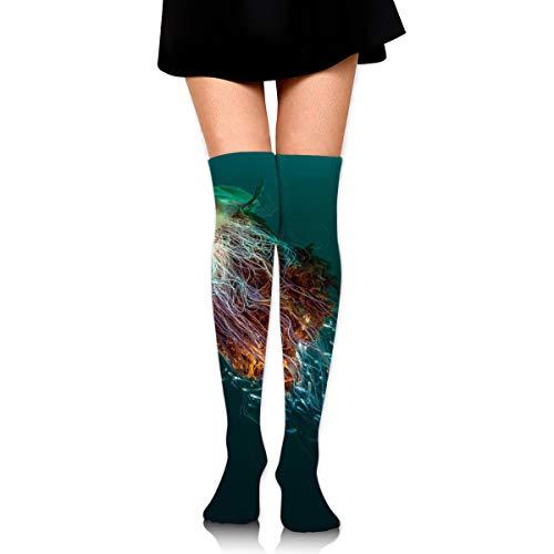 rouxf Knielange Socken Lustige Quallenmäntel Über Kalb Kniestrümpfe Wintermode Kleid Socke 65 cm Länge -