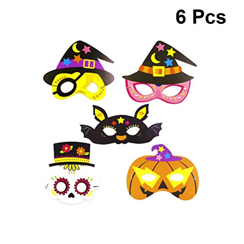 Amosfun 6 STÜCKE Schaum Tier Masken Papier Halloween Kostüm Maske Dress-Up Party Zubehör Halloween Party Favors für Kinder Erwachsene Foto Requisiten Random Style