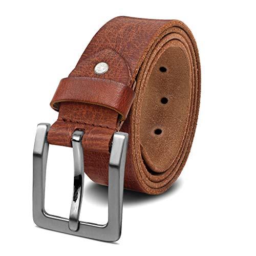 ROYALZ Antik Vintage Ledergürtel für Herren Büffel-Leder aus robusten 4mm Voll-Leder Jeans-Herren-Gürtel mit Dornenschließe 38mm, Größe:90, Farbe:Cognac Braun - Schnalle gebürstet