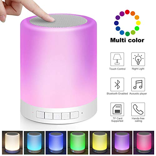 Kabelloser Bluetooth-Lautsprecher mit LED-Nachtlicht, tragbare Lautsprecher, Freisprechfunktion, Touch-Steuerung, Nachttischlampe, tragbares Licht