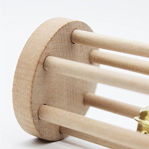 Übung Bell Roller Hanteln natur Holz Pet Kauen Spielzeug Zähne Care Molar Spielzeug für Haustier Kaninchen Ratten und andere kleine Haustiere (Halloween-interaktives Spiel)