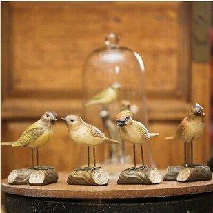 LQK-Accessoires pour la maison américaine de fer pied oiseau oiseaux stakes résine artisanat ornements maison mobilier en fer