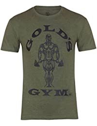 Golds Gym Herren T Shirt Sport Training Fitness Kurzarm Army UK Large