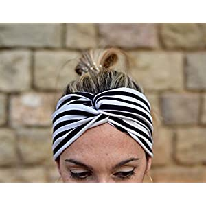 Schwarz und weiß gestreiften Stirnband für Frauen
