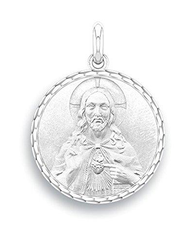 Cristo-del-Sagrado-Corazn--Medalla-religiosa--oro-blanco-9-quilates--Dimetro-17-mm--wwwdiamants-perlescom