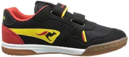KangaROOS Indoor Squash Velcro, Sneaker unisex bambino Nero (Schwarz (black/acid yellow/flame red 576))