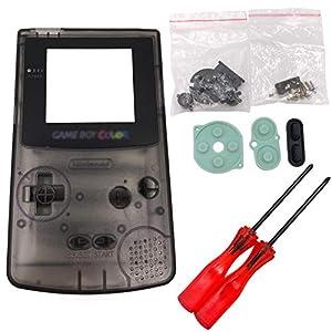 Totento Full Gehäuse ShellCase Cover Ersatzteile mit Schraubendreher für Nintendo Gameboy Color, GBC (Transparentes Schwarz)