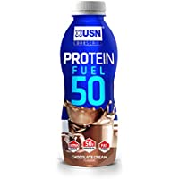 USN Protein Fuel 50 Ready to Drink Protein Shakes, Chocolate Cream - 6 x 500 ml Bottles