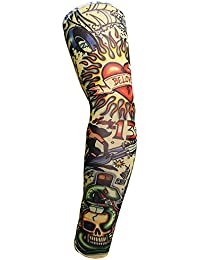 WANGLAI Calienta Brazos de Tatuaje Falsos temporales Unisex con Protección UV Elástica a Prueba de Sol, 1#