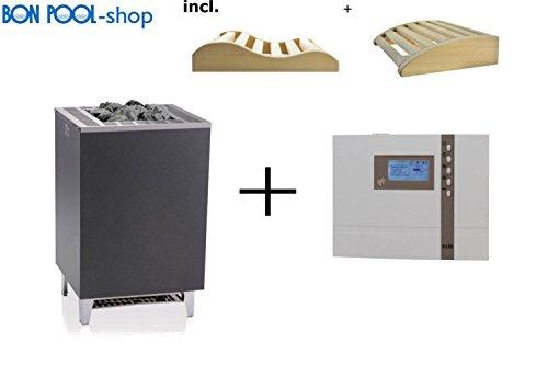 Saunaofen Cubo 9 kW incl. ECON D3 Saunasteuergeraet Finnisch EOS Set und 2 Kopfkeile BONPOOL