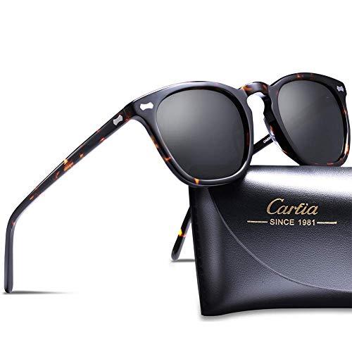 Carfia Vintage UV 400 Schutz Polarisierte Sonnenbrille für Damen und Herren (A - Rahmen: Schildpatt; Linsen: Schwarz)