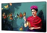 Schmetterling Öl Piant von Frida Kahlo Nachdruck auf Holz Bild auf Rahmen Wand Art Home Dekoration, 40 x 30 inch(102 x 76 cm)-38mm depth