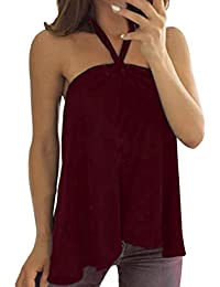 Mujer Blusa Chaleco sin mangas sexy elegante traje citas fiesta,Sonnena Las señoras de las mujeres apliques sin mangas Camisole chaleco Tank Blusa Pullover Tops camisa