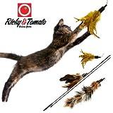 Ricky e pomodoro pendenti gatto giocattolo interattivo piuma naturale Wand (include 3x piume piuma ricariche)–Questi sono garantiti a guidare il vostro gatto selvatico Leap in