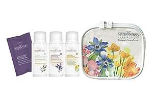 MATERNATURA - Kit da Viaggio - Contiene Shampoo, Gel Doccia, Lozione + Campioncino di impacco capelli - Ecobio, Vegan, Nickel Tested