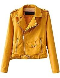 Veste en cuir jaune moutarde femme