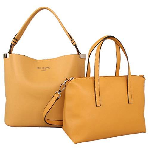 Purple Possum® Red Cuckoo London Yellow Tote 2 Taschen in 1 Large Top Handle Shopper Damen Schultertasche Kunstleder Designer Handtasche -