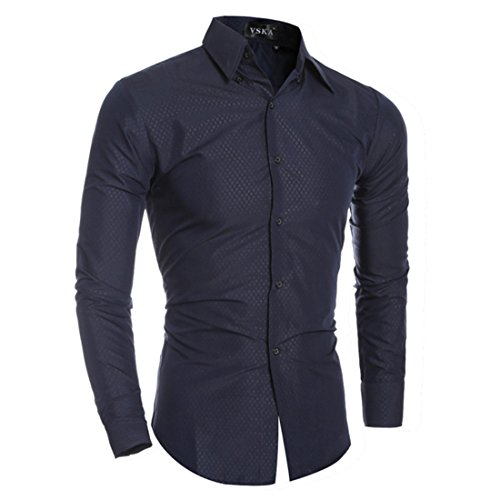 Men's Fashion Solid Leisure Printed Slim Fit Casual Shirts Navy