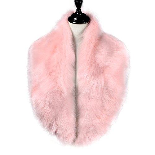 Caracilia Damen Extra Large-Pelz-Cwoollar Schal für Winter-Mantel 125cm Rosa