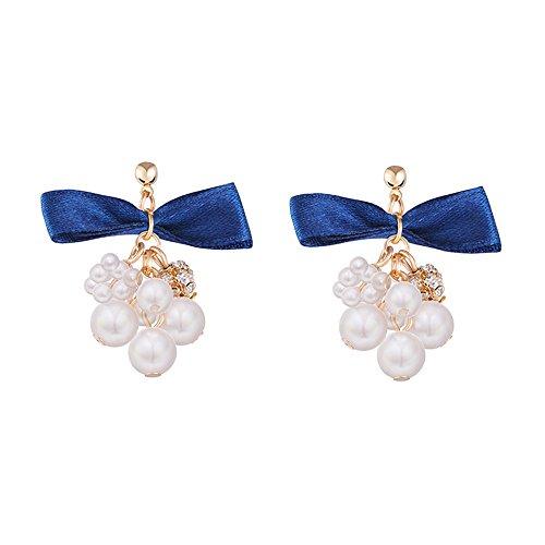 Dana Carrie Teenage herzen Temperament schöne Traube string Größe Perle Ohrringe süße blaue Fliege ohr Pin Buchse (Trauben-herz)
