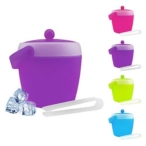 Eiswürfelbehälter mit Zange und Deckel - verschiedene Farben wählbar - Eiskübel - Eiseimer, Farbe:Lila