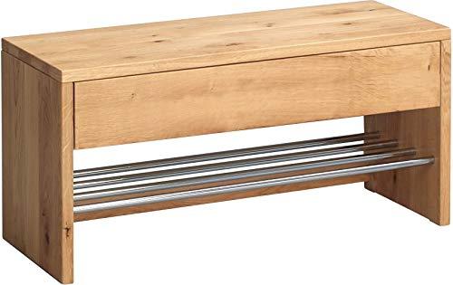 HomeTrends4You 801522 Garderobenbank / Schuhbank / Schuhregal Sigma, Echtholz Wildeiche massiv geölt, Ablage Metall verchromt, mit Schublade, 81x32 cm, Höhe 40cm