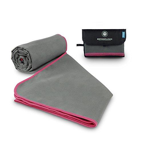 BERGBRUDER Mikrofaser Handtücher (Set SL = 1x S 80x40 cm & 1x L 160x80 cm, Grau-Pink)