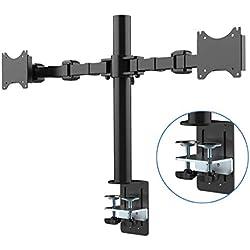 """Fleximounts D1D Support de Bureau pour 2 Écrans LCD de 10""""-27"""" (25cm-68cm), Clamp Équipé, Charge Max 10kg par Moniteur"""