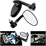 Andride Premium Quality Motorycle Bar End Mirror Rear View Mirror Oval for Bikes