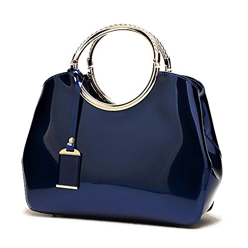 Womens Royal Blue Handbags Ladies Top Handle Bags Patent Leather Stylish Tote Shoulder Bags Purse