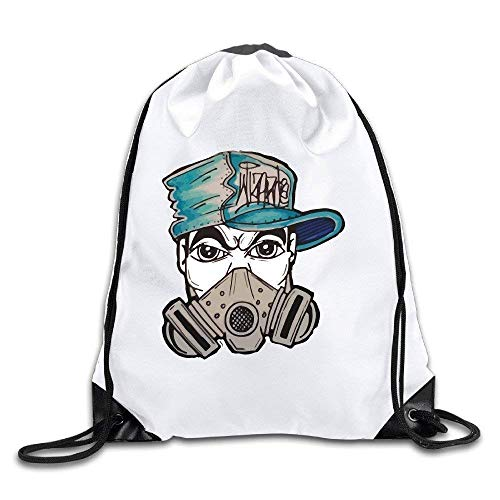 HLKPE Gas Mask Graffiti Sack Bag Drawstring Backpack Ort Bag -