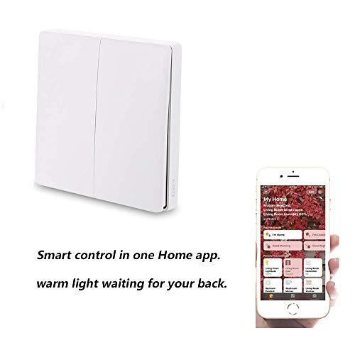 Aqara Wall Switch,Aqara WiFi Smart Lichtschalter ZiGBee Version, WiFi 2,4 GHz Wireless Remote Control Home Kit von Mi Home App, Wandschalter Intelligente Türklingel-Lichtschalter (Double Key)