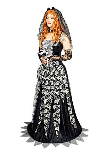 Halloween Hexen-Kostüm Schwarze Witwe Damen Gothic Braut-Kleid inkl. Accessoires, Blumengesteck Größe 36/38 ()