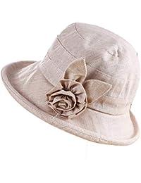 QK-Lannister Cappello Estivo da Donna Cappello Sole con Elegante da  Protezione Tridimensionale Fiore in Cotone E Lino Cappello da Spiaggia… 3e3a5389f009