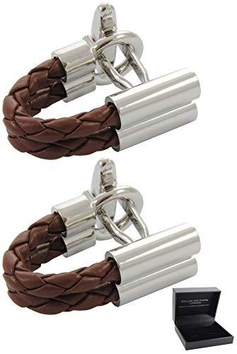 COLLAR AND CUFFS LONDON - Hochwertige Manschettenknöpfe mit Geschenk Box - Wrap Around - C Design - Doppelzopf - Stilvolle Messing - Braun und Silber Farben - Kunstleder Zopf