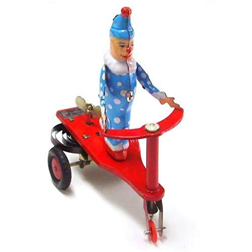 THREE Hauptdekoration Klassische Zinn Wind Up Uhrwerk Spielzeug Clown auf Fahrrad Vintage Blechspielzeug Für Kinder Erwachsene Sammlung Geschenke, A - Spielzeug Zinn Wind-up