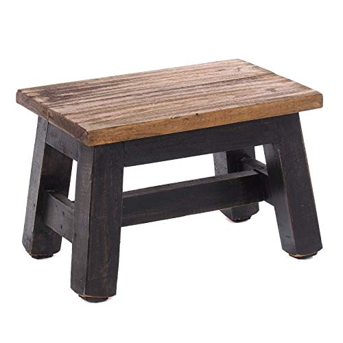 DESIGN DELIGHTS RUSTIC FOOTSTOOL MONTE | 21x30x20 cm (HxWxD), recycled mahogany wood | wooden stool | Colour: 04 black-natural