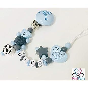 Schnullerkette mit Namen – Kleiner Prinz – Bär mit Häkelperle – Fussball – Stern – Schutzengel – Herz – Junge – Ball – C043