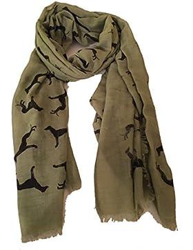 Bufanda verde con la impresión de la galgo grande y el borde deshilachado. -- Apple green Big greyhound long scarf...