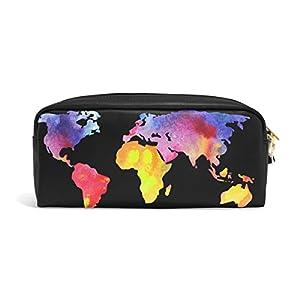 zzkko Watercolor mapa del mundo colorido funda de piel cremallera lápiz pluma estacionaria bolso de la bolsa de cosméticos bolsa bolso de mano