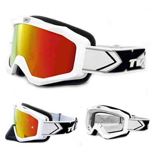 TWO-X EVO V2 Crossbrille weiss iridium verspiegelt - MX Brille Motocross Enduro Spiegelglas Motorradbrille Anti Scratch MX Schutzbrille