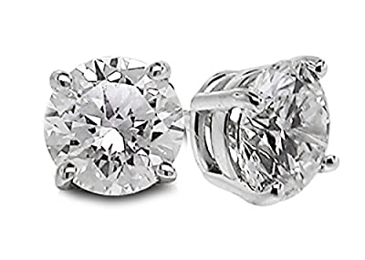 Diamond Studs Forever - 5/8 Carats Total Weight Solitaire Diamond Earrings GH/SI1-SI2 14K White Gold