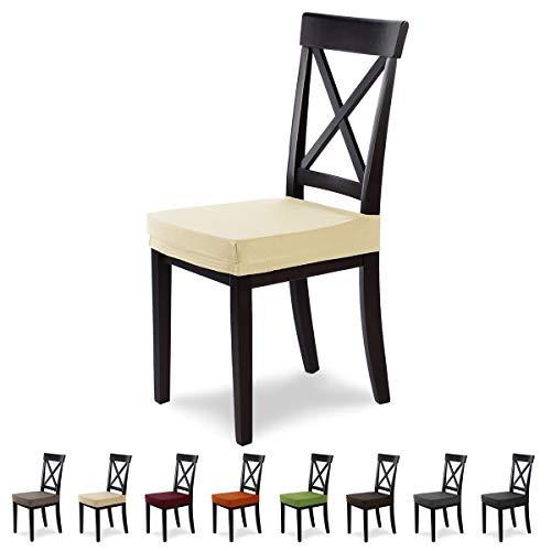 SCHEFFLER-Home Marie 2er Set Sitzbezug Stretch, Sitzabdeckung elastisch, Husse Spannbezug mit Fleckschutz, Creme