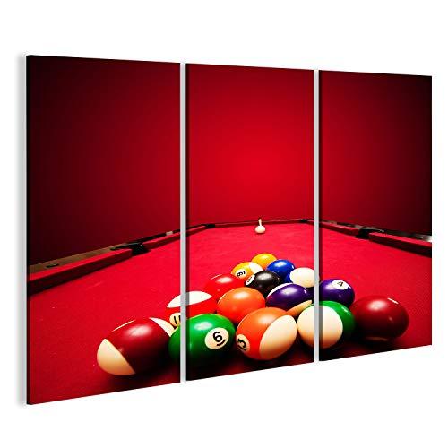 Bild Bilder auf Leinwand Billard Pool Spiel Farbe Kugeln im Dreieck, Cue Ball Roter Tuch Wandbild Leinwandbild Poster -