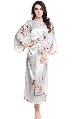 ArtiDeco Damen Morgenmantel Maxi Lang Seide Satin Kimono Kleid Blüten Muster Kimono Bademantel Damen Lange Robe Blumen Schlafmantel Girl Pajama Party 135 cm Lang (Weiße Blumen) (Girls White Party Kleider)